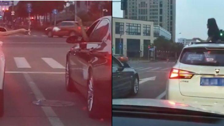 برخورد جالب راننده زن با یک راننده بی فرهنگ! + فیلم