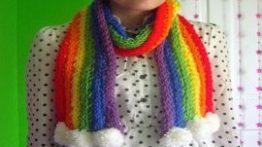 آموزش بافت شال گردن زیبای رنگین کمانی با دست فیلم