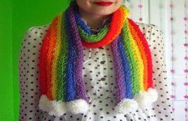 آموزش بافت شال گردن زیبای رنگین کمانی با دست | فیلم
