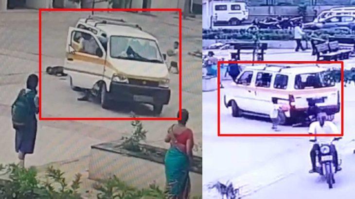 لحظه تصادف سرویس مدرسه با کودک ۷ ساله + فیلم