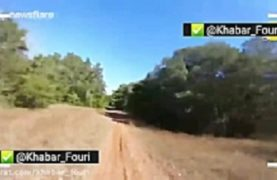 The moment a deer collides with a motorcyclist
