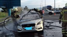 انفجار یک دستگاه سواری هیوندا در آزادراه تهران – قم